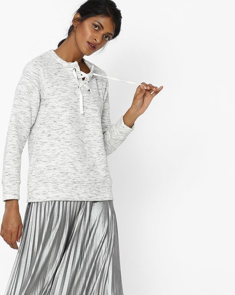Sweatshirt With Neck Tie-Up By DNMX ( Offwhite )