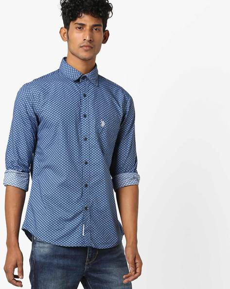 Printed Standard Fit Shirt By US POLO ( Navy )