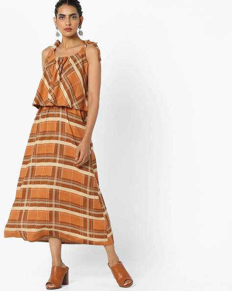 Printed Popover Dress With Tie-Ups By AJIO ( Rust )
