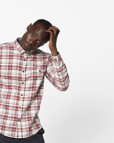 Slim Fit Cotton Checked Shirt By VOI JEANS ( Multicolor )