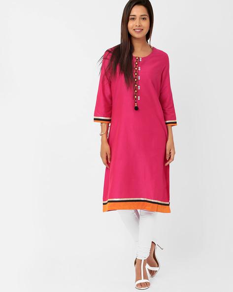 Kurta Churidar Set With Tassel Detail By Trishaa By Pantaloons ( Pink )
