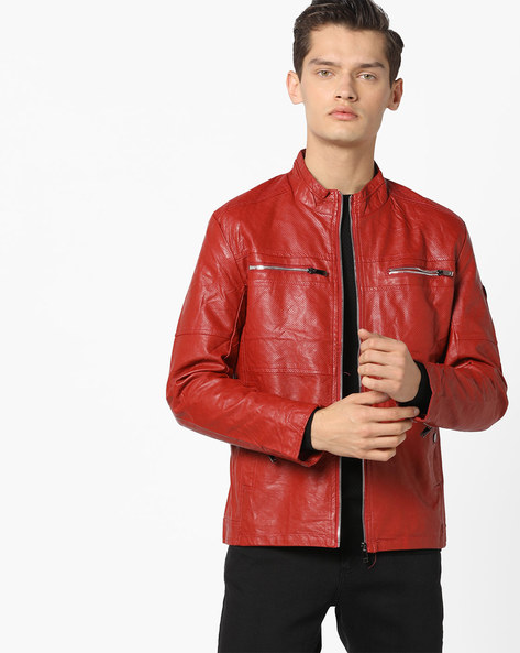 Slim Fit Biker Jacket With Mandarin Collar By The Indian Garage Co ( Red ) - 460167858010