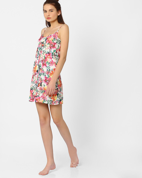 Floral Print Lounge Dress By AJIO ( Offwhite )
