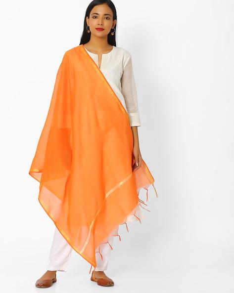 Chanderi Dupatta With Zari Border By Melange By Lifestyle ( Orange )