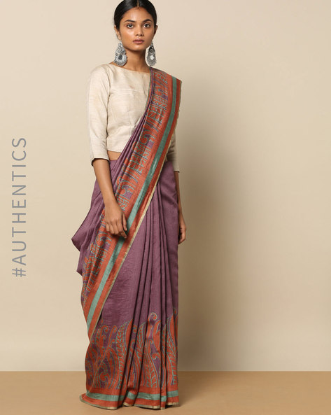 Pure Silk Tussar Abstract Print Designer Saree By Rudrakaashe-MSU ( Multi )