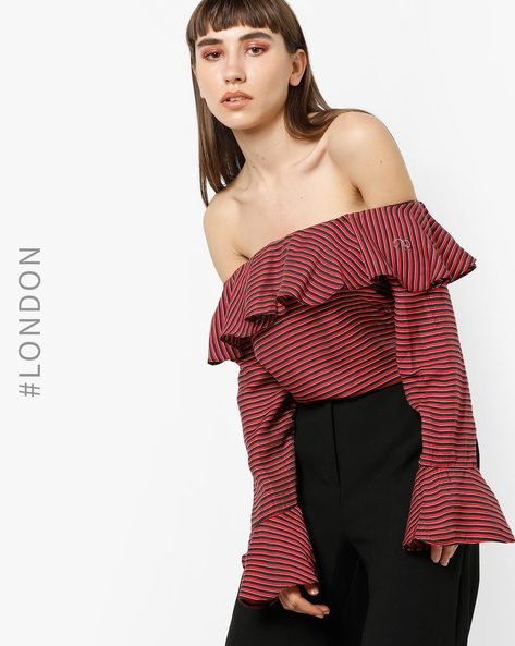 Striped Off-Shoulder Top By Closet London ( Red )