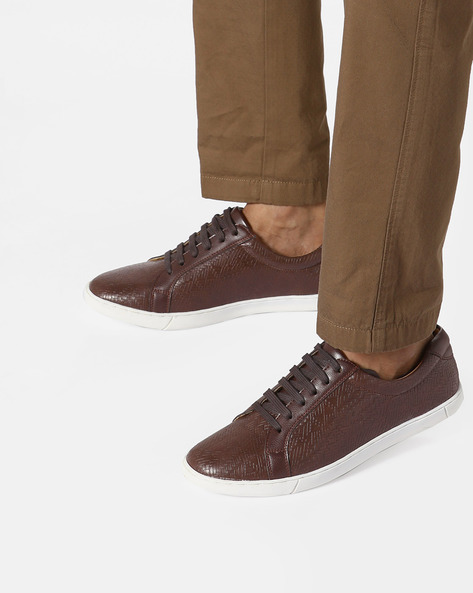 N9-Treated Faux Leather Sneakers By AJIO ( Darkbrown )