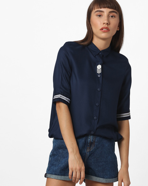 Button-Down Shirt With Elasticated Hemline By Teamspirit ( Navy )