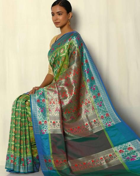 Patola-Style Brocade South Silk Saree By Pretty Woman ( Green )