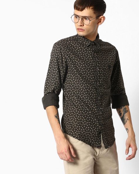 Printed Shirt With Patch Pocket By MUFTI ( Olive )