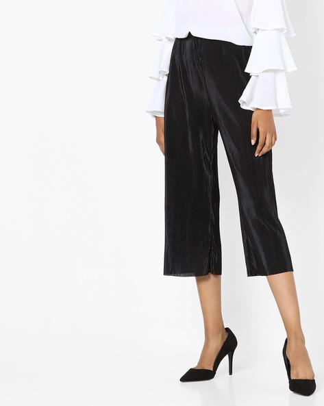 High-Rise Wide-Leg Culottes By SAINT TROPEZ ( Black )