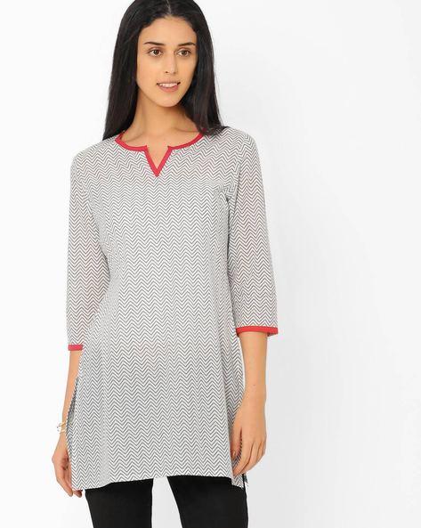 Jaipuri Print Tunic By AJIO ( White )