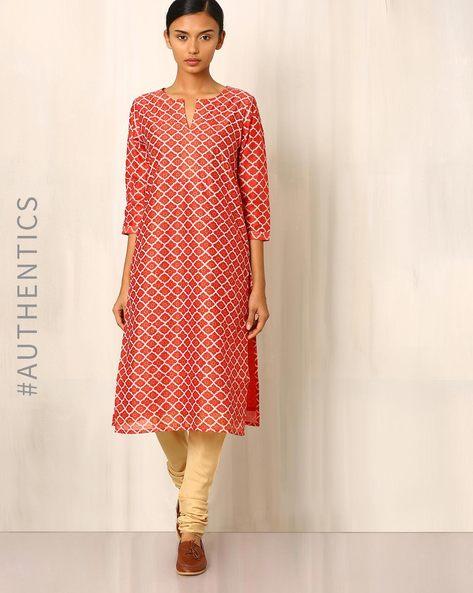 Chanderi Handblock Print Straight Kurta By Indie Picks ( Red )