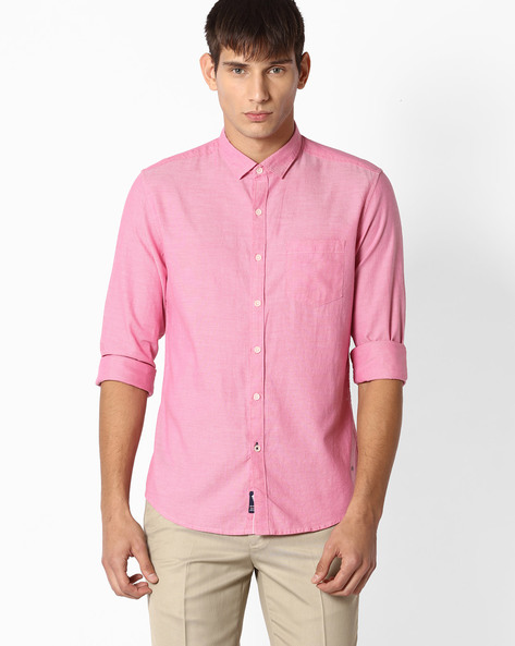 Cotton Shirt With Patch Pocket By NETPLAY ( Pink )