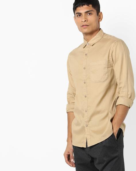 Slim Fit Cotton Shirt By AJIO ( Beige )