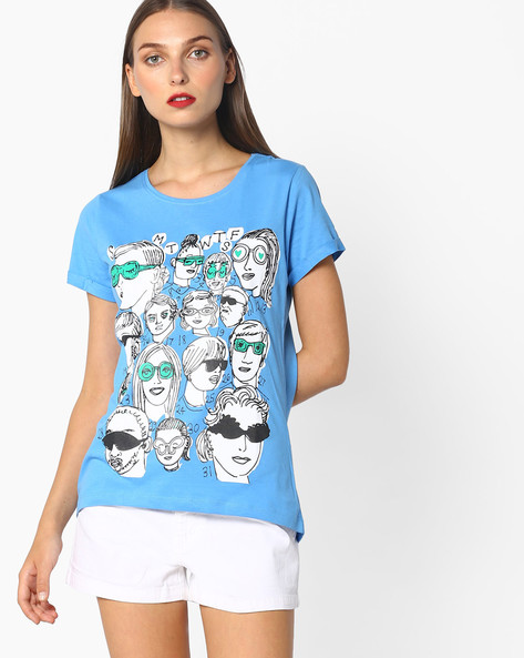 Graphic Print Crew-Neck T-Shirt By Blue Saint ( Blue )