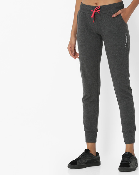 Cuffed Track Pants With Drawstring Waist By Teamspirit ( Charcoal )