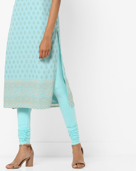 Churidar Leggings With Elasticated Waist By AJIO ( Lightblue )