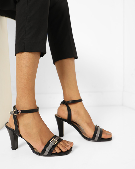 Ankle Strap Pumps With Buckle Closure By AJIO ( Black )