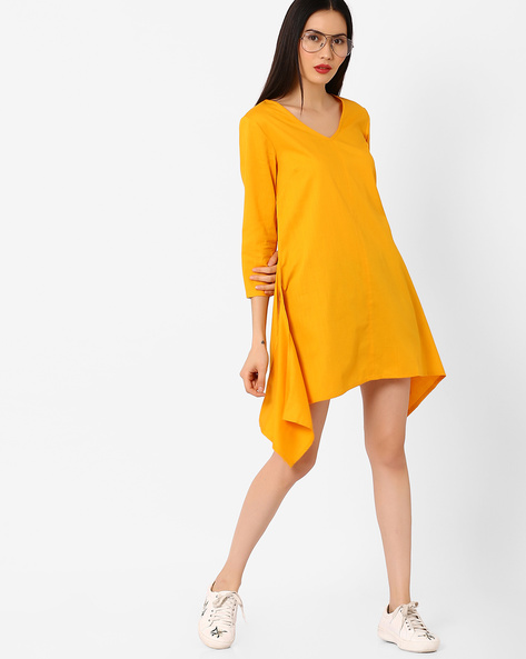Shift Dress With Handkerchief Hemline By AJIO ( Yellow )