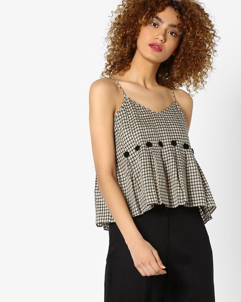 Checked Top With Spaghetti Straps By Global Desi ( Printed )