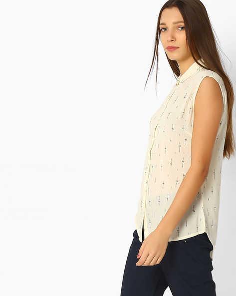Graphic Print High-Low Shirt Top By BOSSINI ( Offwhite )