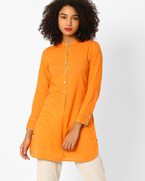 Tunic With Mandarin Collar By AJIO ( Orange )