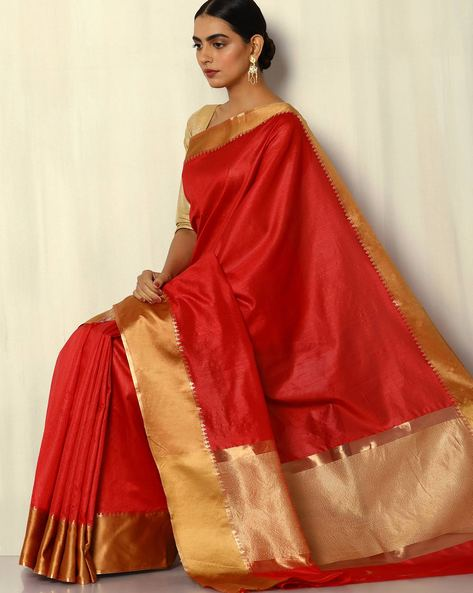 South Silk Saree With Zari Border By Pretty Woman ( Red )