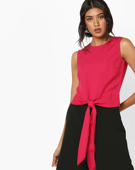 Sleeveless Top With Tie-Up By AJIO ( Pink )