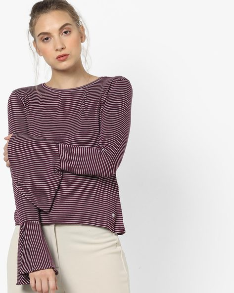 Striped T-shirt With Flared Sleeves By Only ( Maroon )