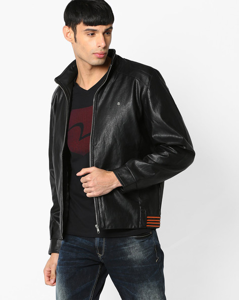 Slim Fit Leatherette Jacket By SPYKAR ( Black )