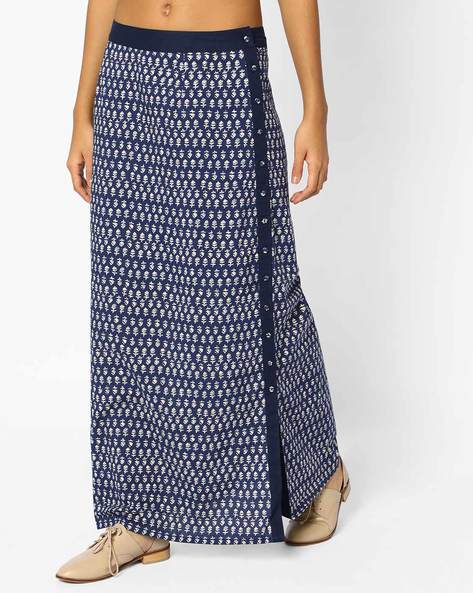 Block Print Maxi Skirt With Slit By AJIO ( Indigo )