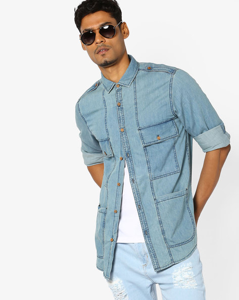 Panelled Cotton Shirt With Pockets By AJIO ( Blue )
