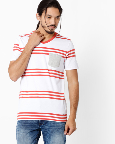 Striped V-neck Lounge T-shirt By Under Colors Of Benetton ( Multi )