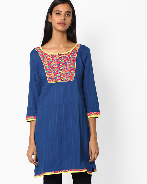 Printed Cotton Kurta By Jiyaa ( Blue )