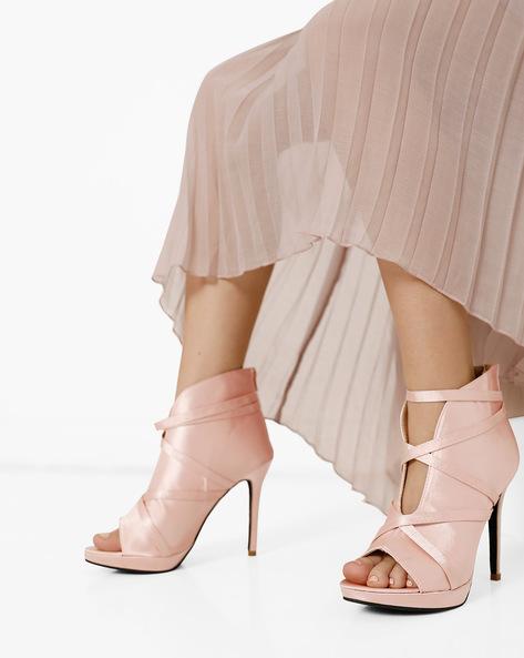 Ankle-Wrap Stilettos With Peep-Toe By MFT Couture ( Mauve )