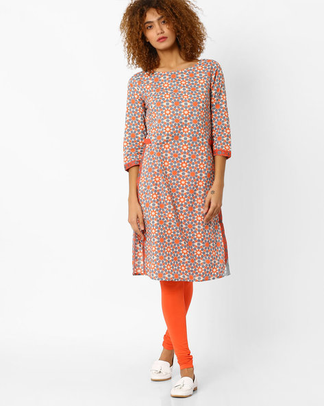 Printed Straight Kurta By AJIO ( Red )