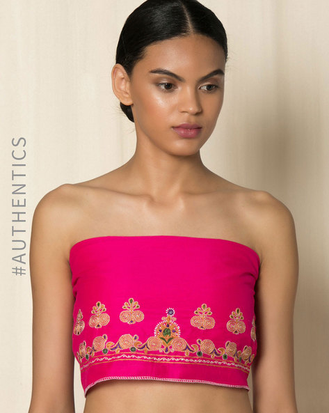 Kutch Ahir Hand Embroidery Blouse Fabric By Indie Picks ( Fuchsia )