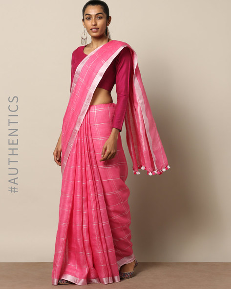 Handloom Pure Linen Saree With Contrast Border By Lal10 ( Pink )