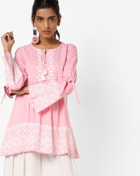Ruffled Top With Bell Sleeves By Arah ( Pink )