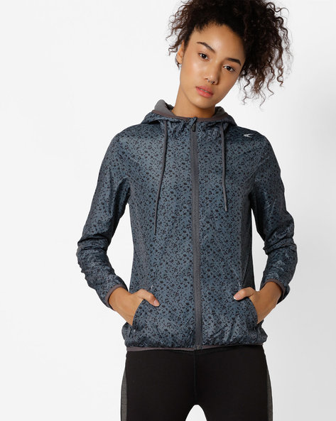Hooded Printed Fitness Jacket With Quick Dry By PERFORMAX ( Charcoal )