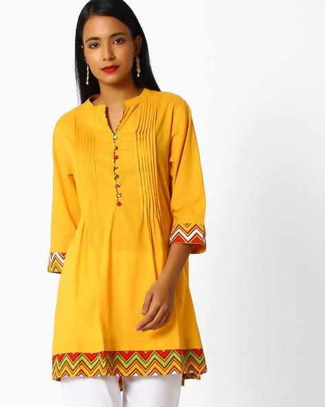 Cotton Tunic With Pintucks By Shree ( Mustard )