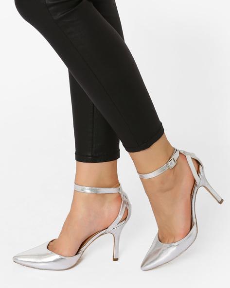 Pointy-Toe Stilettos With Ankle Strap By AJIO ( Silver )