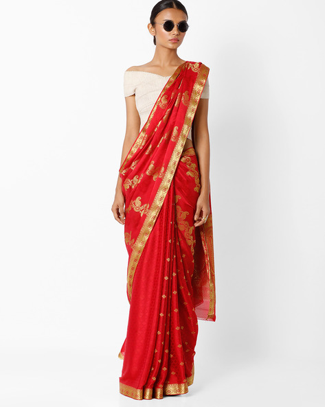 Saree With Floral Zari Border By Amori ( Red )