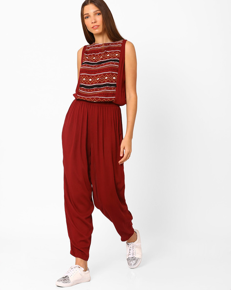 Woven Jumpsuit With Embroidered Yoke By Rena Love ( Maroon )