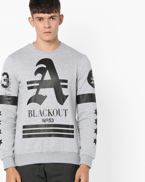 Graphic Print Sweatshirt With Side Zippers By ALCOTT ( Greymelange )