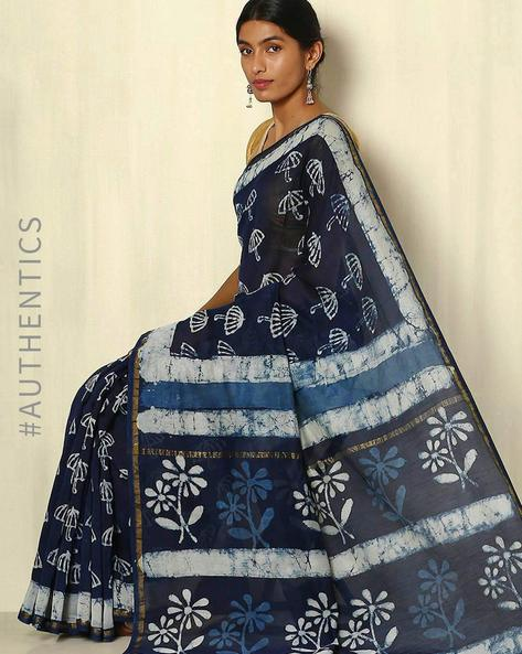 Handblock Print Indigo Chanderi Saree With Zari Border By Indie Picks ( Indigo )