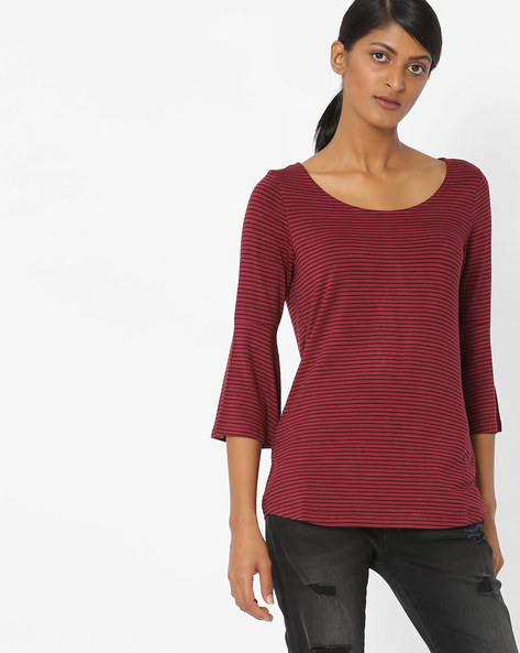 Striped Top With Bell Sleeves By Fame Forever By Lifestyle ( Wine )