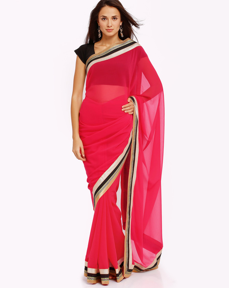 Embroidered Chiffon Saree With Zari By Majestic Silk ( Coral )