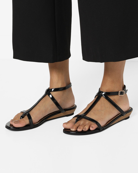 Strappy Patent Wedges By Curiozz ( Black )